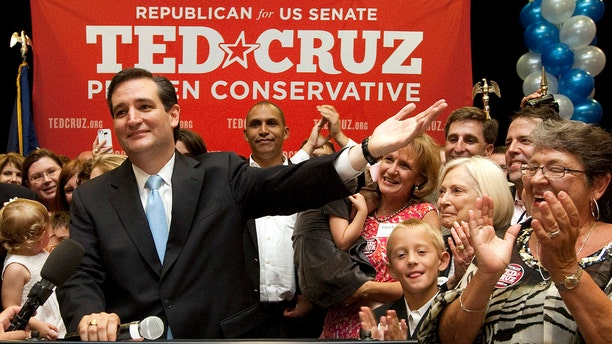 U.S. Senate candidate Ted Cruz speaks to a cheerful crowd after he defeated Republican rival, Lt. Gov. David Dewhurst in a runoff election for the GOP nomination for the U.S. Senate seat vacated by the retiring Kay Bailey Hutchison on Tuesday in Houston. (AP Photo/Houston Chronicle, Johnny Hanson)