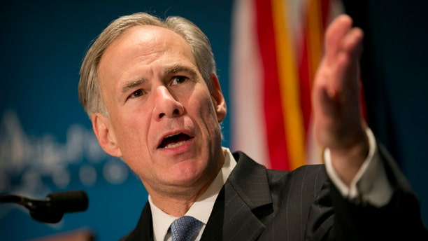 Gov. Greg Abbott during a speech at the Texas Public Policy Foundation in Austin, Texas, on Friday Jan. 8, 2016.