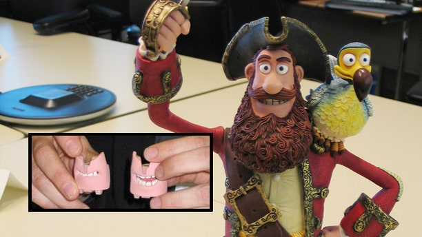 "Jan. 13, 2012: Animator Ian Whitlock demonstrates 3D printed mouths for a pirate captain model from ""The Pirates! Band of Misfits"" film at Sony Animation Pictures Studios in Culver City, Calif."
