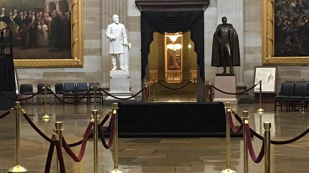 The catafalque is the wooden platform used for President Abraham Lincoln's funeral, which is where Sen. John McCain's casket will rest Friday and early Saturday.