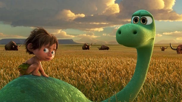 The <i>Apatosaurus</i> Arlo and cave boy Spot are fast friends, but only in a hypothetical universe.