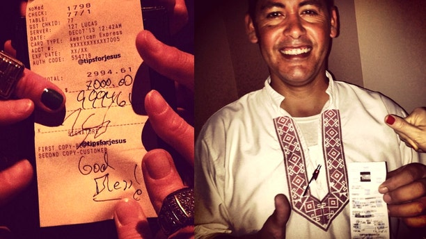 Images from the tipsforjesus Instagram account. A tip for $9,994.61 (left); Carlos Mendez in Punta Mita, Mexico, smiles about his tip worth more than 13,000 pesos (about $1,000).