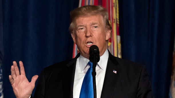 President Donald Trump speaks at Fort Myer in Arlington Va., Monday, Aug. 21, 2017, during a Presidential Address to the Nation about a strategy he believes will best position the U.S. to eventually declare victory in Afghanistan.