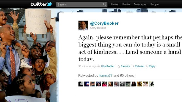 Newark mayor Cory Booker has won high marks for his hands-on response to the blizzard, notably across micro-blogging website Twitter.