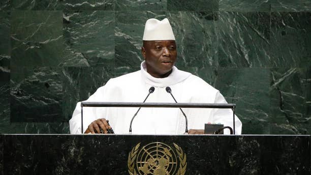 "FILE - In this Thursday, Sept. 25, 2014, file photo, Gambia's President Al Hadji Yahya Jammeh addresses the 69th session of the United Nations General Assembly at the United Nations headquarters. Gambia accused European countries of ""racist and inhuman behavior"" for deliberately causing boats carrying black African migrants to sink. (AP Photo/Frank Franklin II, File)"