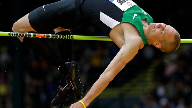 June 25, 2012: Jesse Williams participates in the men's high jump finals at the U.S. Olympic Track and Field Trials in Eugene, Ore