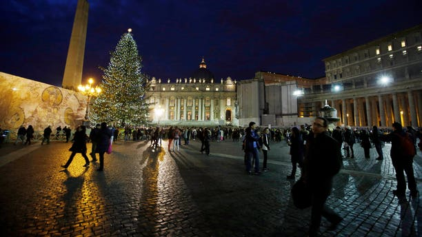 Dec. 14, 2012 - The 78 ft Christmas tree lit in St. Peter's Square at the Vatican.