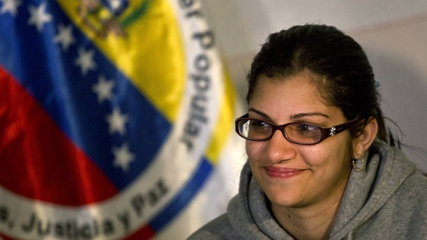 Nairobi Pinto gives a press conference following her release in Caracas, Venezuela, Monday, April 14, 2014.
