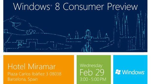 An invitation to Microsoft's Windows 8 Consumer Preview event in Barcelona.