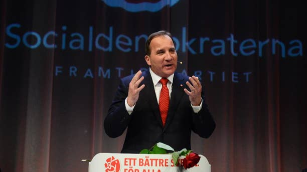 Opposition leader Stefan Lofven speaks at the election night party of the Social Democrats, in Stockholm, Sweden, on Sunday, Sept. 14, 2014. Sweden's Social Democrats were poised to return to power as the leaders of a left-leaning bloc that defeated the center-right government in a parliamentary election Sunday, but without an absolute majority.  (AP Photo / News Agency TT, Jonas Ekstromer) SWEDEN OUT