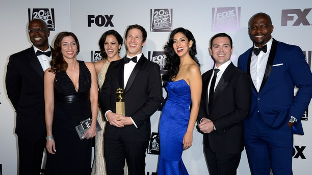 "The Cast of ""Brooklyn Nine Nine"" at the Golden Globe Awards."