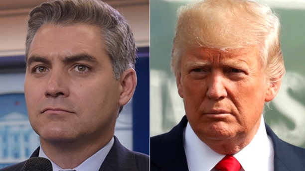CNN's Jim Acosta, left, sparred with President Trump at the end of a White House appearance Monday.