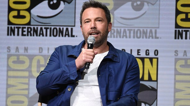 """Ben Affleck speaks at the Warner Bros. """"Justice League"""" panel on day three of Comic-Con International on Saturday in San Diego"""