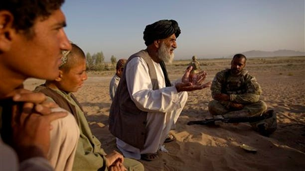 June 27. An Afghan man talks to an American soldier about bringing much needed essential services, such as water and power, to their village. Such services are being provided in the hope of winning over the hearts and minds of the Afghan people. However, intelligence leaders have recently placed a greater emphasis on more traditional ways of targeting the Taliban-led insurgency, such as mapping enemy networks and behavior.