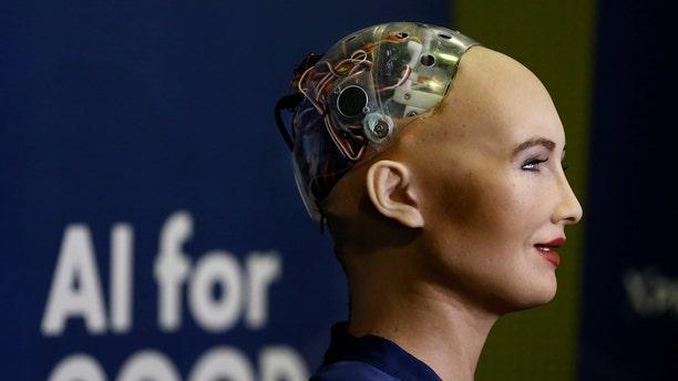 "File photo: Sophia, a robot integrating the latest technologies and artificial intelligence developed by Hanson Robotics is pictured during a presentation at the ""AI for Good"" Global Summit at the International Telecommunication Union (ITU) in Geneva, Switzerland June 7, 2017. (REUTERS/Denis Balibouse)"