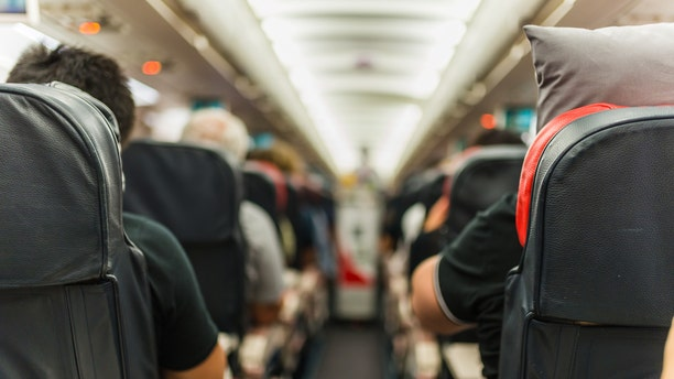 Selective focus shot in an airplane