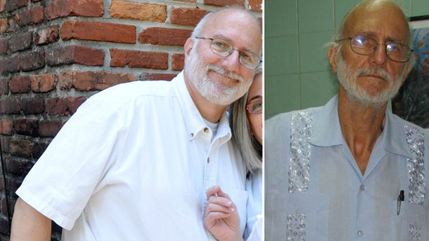 FILE - This two-picture combo handout file photos provided in June 2012 by Peter Kahn, the attorney of imprisoned American Alan Gross, shows Gross in 2009, left, and in 2012, right.