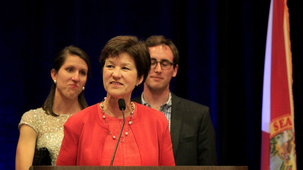 March 11, 201: Alex Sink delivers her concession speech, after being defeated by David Jolly for Florida's 13th Congressional District, at her watch party at the Hilton Carillon in St. Petersburg.