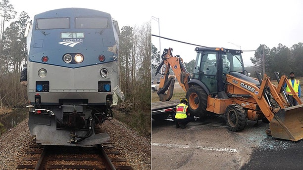 An Amtrak train struck a trailer carrying construction equipment in Slidell, La., but no injuries were reported.