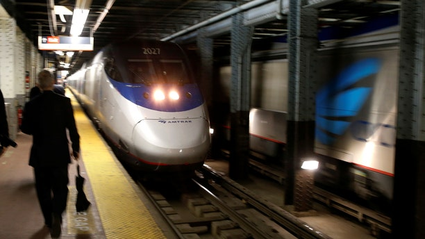 An Amtrak Acela train arrives at New York's Penn Station, the nation's busiest train hub, in May 2017.