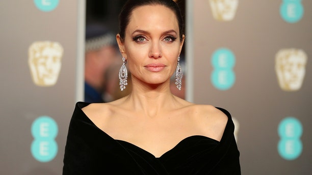 Angelina Jolie arrives at the British Academy of Film and Television Awards (BAFTA) at the Royal Albert Hall in London, Britain, February 18, 2018.