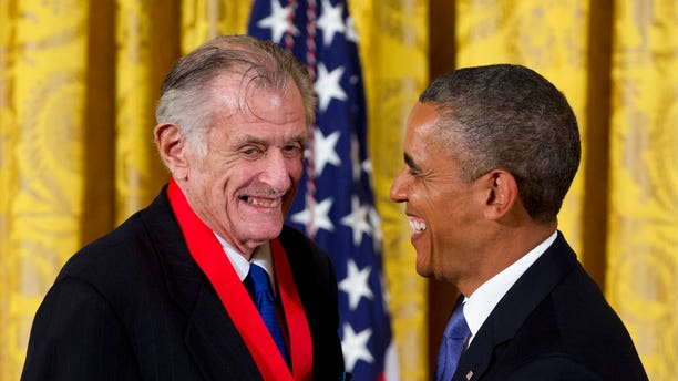 Former president Barack Obama awarded Frank Deford the 2012 National Humanities Medal during a ceremony in the East Room of the White House in Washington.