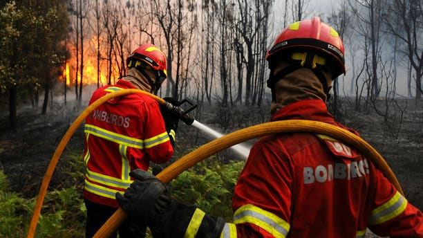 Portuguese firefighters work to stop a forest fire from reaching a village in central Portugal.