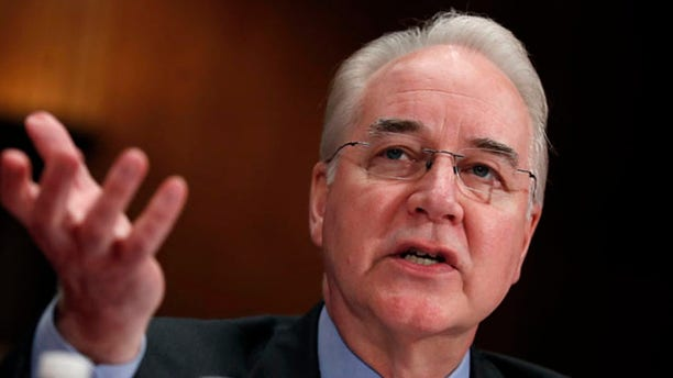 """FILE - In this June 15, 2017, file photo, Health and Human Services Secretary Tom Price testifies on Capitol Hill in Washington. President Donald Trump declared Sept. 27, he's """"not happy"""" with his top health official, after Price's government-paid travel on costly charter flights triggered a wide-ranging congressional investigation of the administration.(AP Photo/Manuel Balce Ceneta, File)"""