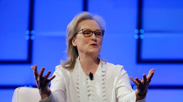 """Streep, pictured here speaking at a women's conference in Massachusetts, told The Times she thinks Melania Trump """"has so much that's valuable to say"""" regarding sexual assault allegations plaguing various industries."""