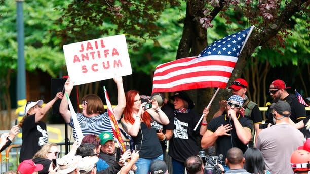 A rally organized Saturday by Patriot Prayer leader Joey Gibson was expected to be the third to roil Portland this summer; pictured is the June 30th rally.