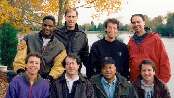 Supreme Court nominee Brett Kavanaugh, front row far right, poses with Yale University Law School classmates at Kavanaugh's parents' home in St. Michaels, Md. Front row from left are Steve Hartmann, Jim Brochin, Richard Roberts, and Kavanaugh. Back row from left are Ken Christmas, James Boasberg, Zeb Landsman, and Edmund Burns.