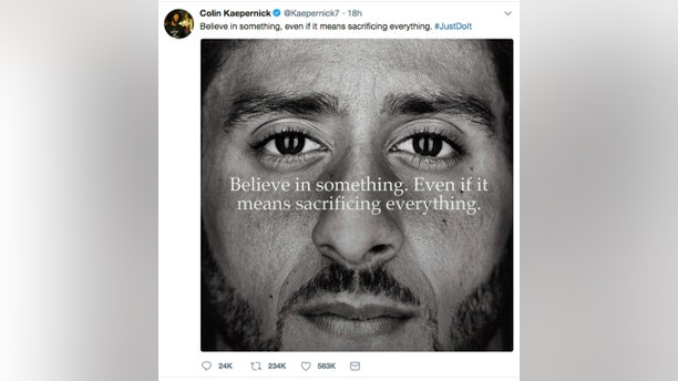 This image taken from the Twitter account of the former National Football League player Colin Kaepernick shows a Nike advertisement featuring him that was posted Monday, Sept. 3, 2018.