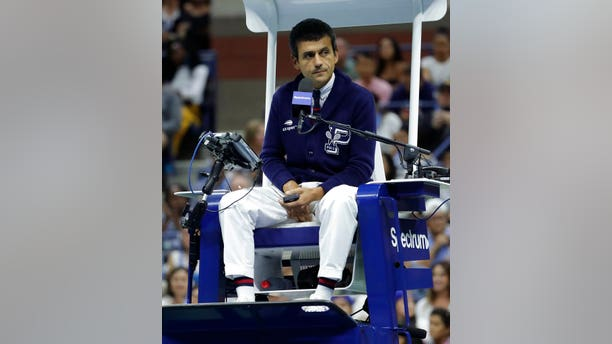 "Serena Williams called chair umpire Carlos Ramos, pictured here, a ""thief."""