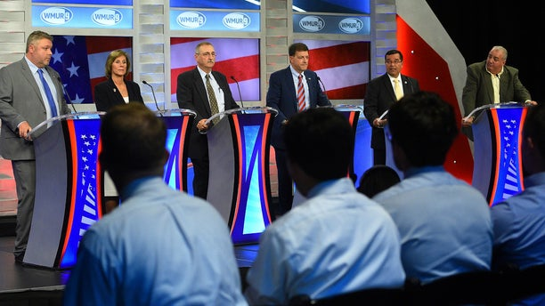 From left, Republicans Bob Burns, Lynne Blankenbeker, Gerard Beloin, Stewart Levenson, Rep. Steve Negron, and Brian Belanger participate in the 2nd congressional district debate.