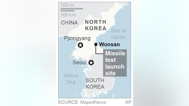 A map showing Wonsan, North Korea, the site of a failed missile test launch.