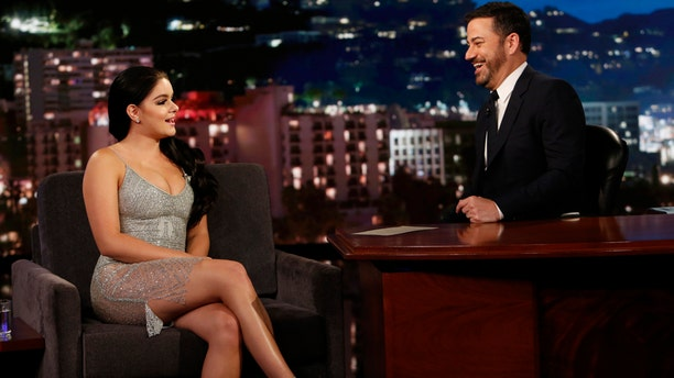 """Ariel Winter (left) chats with Jimmy Kimmel on his late night show """"Jimmy Kimmel Live,"""" May 10, 2017."""