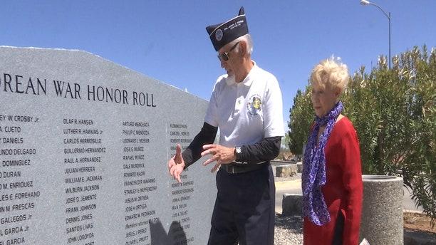 Ben Arriola and his wife visit the Korean War Memorial in El Paso, Texas.