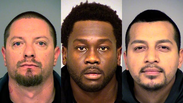 Joseph Valenzuela, Rahim Leblanc and Carlos Chavez have been charged with suspicion of grand theft of fruit.
