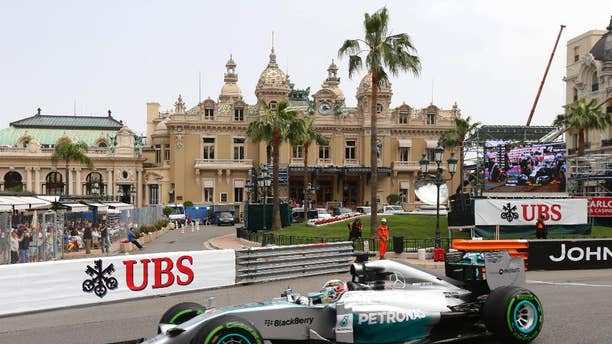 Mercedes driver Lewis Hamilton of Britain   steers his car during the second free practice at the Monaco racetrack, in Monaco, Thursday, May 22, 2013. The  Monaco Formula One Grand Prix will be held on Sunday. (AP Photo/Claude Paris)