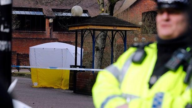 Police blockade area where the attack occurred in Salisbury, United Kingdom.