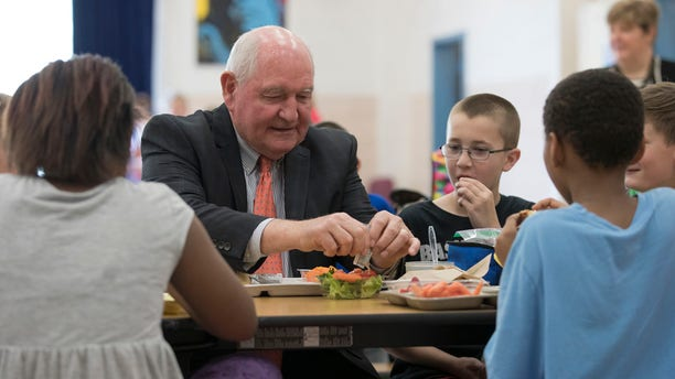 May 1, 2017: Agriculture Secretary Sonny Perdue eats lunch with students at the Catocin Elementary School in Leesburg, Va.