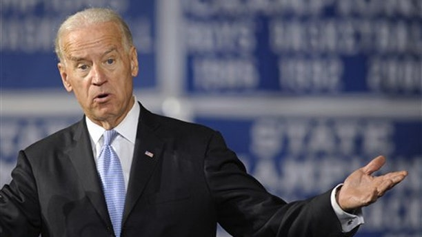 Vice President Biden gestures while speaking at Howard High School of Technology in Wilmington, Del., March 21.