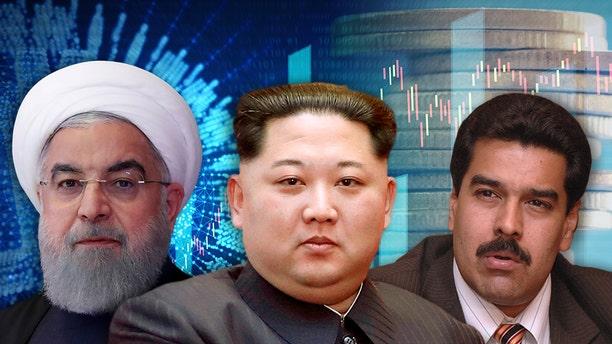 Countries including Iran (leader Hassan Rouhani left), North Korea (Kim Jong-un center) and Venezuela (Nicolas Maduro) are turning to cryptocurrencies to circumvent U.S. sanctions