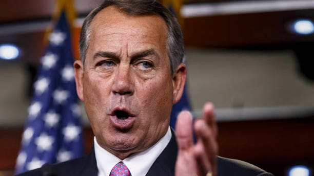 March 26, 2014: House Speaker John Boehner speaks during a news conference on Capitol Hill in Washington.