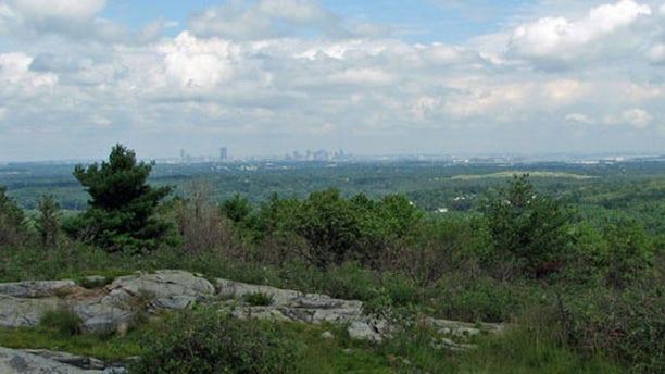 Boston skyline as seen from Buck Hill in the Blue Hills.