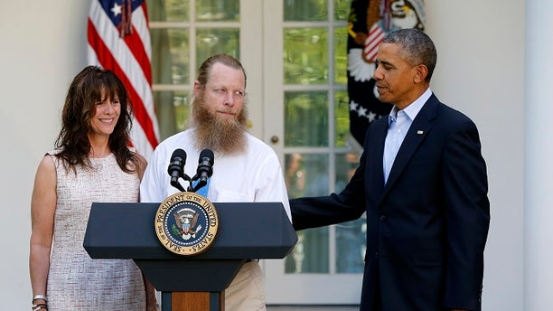 Many viewers noticed Bergdahl's father, Bob, and his long beard as he stood next to the president.