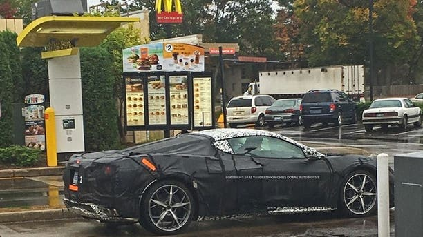 A prototype of the suspected mid-engine Corvette was spotted making a McDonald's run last fall.