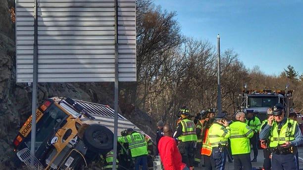 The scene of the crash in Waltham.