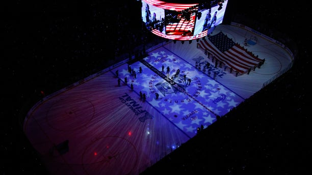 The ice surface is seen during the singing of the national anthem prior to Game 3 of the 2012 Stanley Cup Final between the New Jersey Devils and the Los Angeles Kings at Staples Center in Los Angeles, June 4, 2012. (Getty Images)