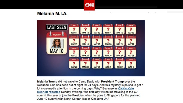 "CNN's ""Reliable Sources"" newsletter featured a graphic detailing the time since the First Lady's last public appearance headlined, ""Melania M.I.A."""